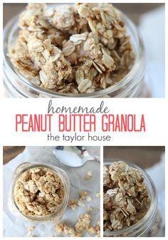 Homemade Four Ingred Homemade Four Ingredient Peanut Butter Granola Recipe!