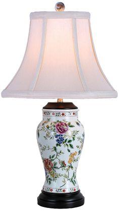 Rose and Floral Vase Porcelain Table Lamp -