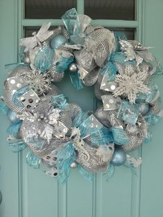 Silver and Tiffany blue Christmas wreath on my front door (handmade)