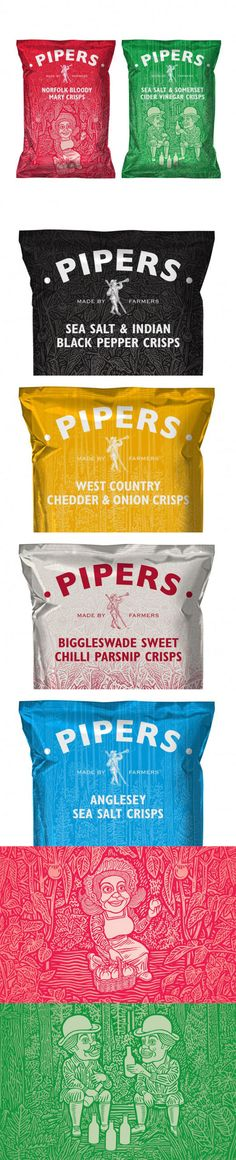 Pipers Crisps  --Lovely Package-- fun #illustrated chips #packaging PD