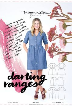 The Darling Ranges Dress and blouse sewing pattern from Megan Nielsen. An Intermediate sewing pattern for the UK dressmaker. Dress Sewing Patterns, Sewing Patterns Free, Free Sewing, Sewing Designs, Pattern Sewing, Clothes Patterns, Sewing Hacks, Sewing Tutorials, Sewing Crafts