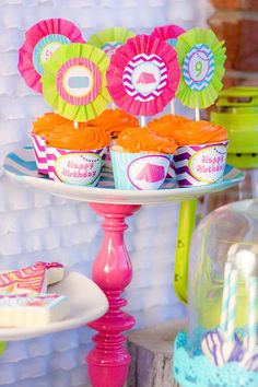 Cupcakes at a Glamping Party via Kara's Party Ideas Kara'sPartyIdeas.com #Camping #Sleepover #Party #Ideas #Supplies #glamping #cupcakes #girl