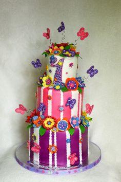 Flower Butterfly Birthday Cake