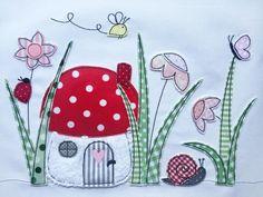 """Stickdatei Pilzhäuschenwiese 13x18 / stitch file """"little cute mushroom house"""" by Stickherz via DaWanda.com"""