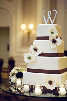 """White and brown 4 tier square wedding cake.  We can help achieve this look at Dallas Foam with cake dummies, cupcake stands and cakeboards. Just use """"2015pinterest"""" as the item code and receive 10% off your first order @ www.dallas-foam.com. Like us on Facebook for more discount offers!"""