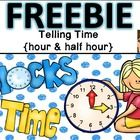 This is a telling time center for time to the hour and to the half hour. There are 12 cards included for each; 24 in all. Free