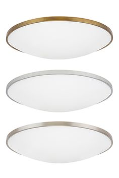 """Vance 24"""" LED Ceiling Light from Tech Lighting: Exudes a clean contemporary style. Features a thin, direct-mount metal body in your choice of on-trend finishes like aged brass, stylish satin nickel, and classic polished chrome to ensure coordination with virtually any interior design theme. A frosted glass diffuser effectively controls the highly capable LED light source within, which is fully dimmable to help you create the desired ambiance. For bedroom, bathroom, hallway, and foyer…"""