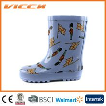 Kids national flag rubber rain boots