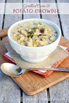 Grilled Corn and Potato Chowder | Potatoes and grilled sweet corn are perfect together in this creamy, satisfying soup.