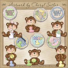 Baby Balloon Bears 1 - Cheryl Seslar Country Clip Art