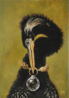 A snake bird (Anhinga) nibbles at the glittering globe around her neck. Even a bird is allowed one small ostentation, no?    The Baroque Beasts