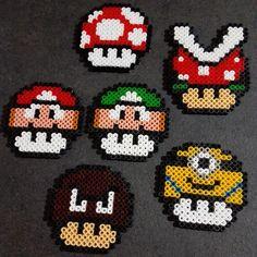 Mario mushrooms hama perler beads by latanadelconiglio