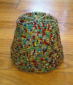 Vintage Rainbow Beaded Wire Lampshade, Handmade in South Africa by MyEclecticWares on Etsy