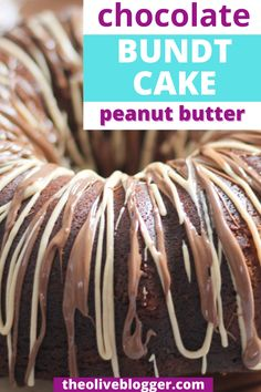 This easy to make, from scratch chocolate bundt cake is incredibly delicious thanks to the addition of peanut butter in half of the batter! The moist bundt cake is then finished off with a peanut butter glaze - YUM! Chocolate Bundt Cake, Chocolate Peanut Butter, Chocolate Desserts, Yummy Snacks, Yummy Food, New Dessert Recipe, Cake Recipes, Dessert Recipes, Sheet Cakes