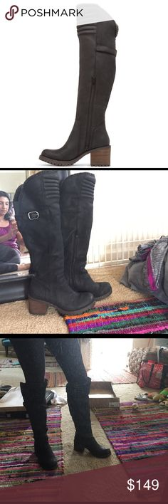 Lucky Brand Narlee Over The Knee Boot Black suede boots, brand new! Box will not be included unless buyer pays for additional shipping fees. Originally $208 i purchased at a Lucky store in San Diego, CA. Lucky Brand Shoes Over the Knee Boots