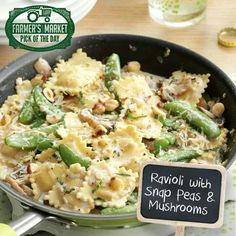 Ravioli with snap peas and mushrooms
