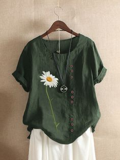 Fashionable Daisy Flower Print Short Sleeve O-neck T-shirt For Women Online - NewChic Casual Tops For Women, Blouses For Women, T Shirts For Women, Daisy, Shirt Bluse, Basic Tops, Casual T Shirts, Tee Shirts, White Long Sleeve