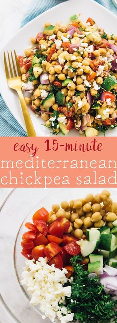 😂😍 This 15 Minute Mediterranean Chickpea Salad is loaded with delicious and filling veggies made in just 15 minutes and is perfect for meal prep via jessicainthekitch Mediterranean Chickpea Salad, Mediterranean Diet Recipes, Mediterranean Dishes, Greek Chickpea Salad, Vegan Recipes, Cooking Recipes, Vegan Meals, Healthy Chickpea Recipes, Chickpea Meals