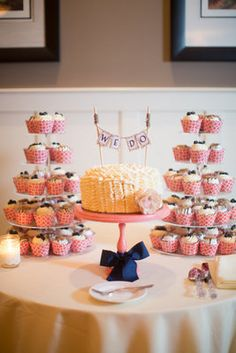 A preppy #pink and #blue #wedding dessert bar! (Photo by Abby Grace Photography)