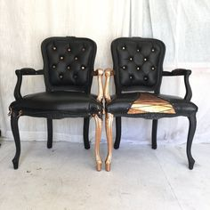 Lady Gaga 100% Leather Tufted Armchairs Black and Rose Gold Gilded French Louis XVI dining chairs bergere by Skinndd