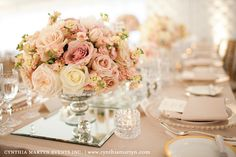 Reception CENTERPIECE (Close up)- Want exact floral arrangement but, more shades of off white and pink blush.