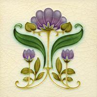 ❤ - Art Nouveau-style flower tile