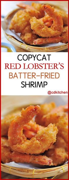 Copycat Red Lobster's Batter-Fried Shrimp - The restaurant may be named after a different crustacean, but don't doubt that Red Lobster can whip up some fine fried shrimp. The only question is what dipping sauce you'll choose for them! Battered Shrimp Recipes, Fried Shrimp Batter, Fried Shrimp Recipes, Breaded Shrimp, Shrimp Recipes For Dinner, Lobster Recipes, Shrimp Dishes, Fish Dishes, Fish Recipes