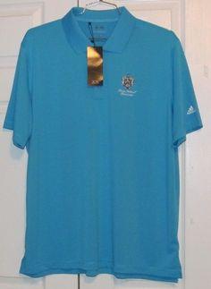 Adidas PureMotion Men's Golf Shirt, XL, Blue, Trump Logo, 100% Polyester, NWT #AdidasGolf