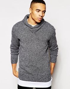 River Island Jumper with Shawl Neck in Lambswool