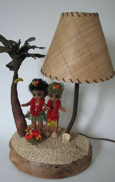 Lamp Hawaiian 1940s Hula Children Celluloid Tiki Kitsch..