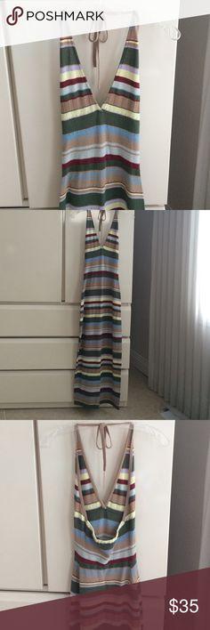 "Moda Maxi Dress Moda Maxi Dress. Size S. Knit halter neck. Lightweight. Total length 54"". Super cute. Like new. Cotton 55%. 45% nylon. Dry clean only. Moda International Dresses Maxi"