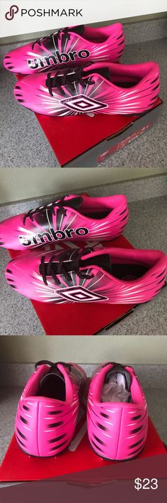 Umbro Girl's Soccer Cleats NWB Umbro Kid's Arturo Pink White Black Youth Soccer Cleats Size 4.5 Umbro Shoes Sneakers