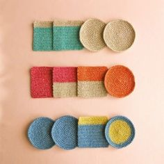 Crochet Coaster Set of 4 for sale - no pattern, sizes: cm diameter 9 cm × 9 cm Love Crochet, Crochet Motif, Diy Crochet, Crochet Crafts, Crochet Coaster, Knitting Projects, Crochet Projects, Knitting Patterns, Crochet Patterns