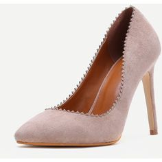 Apricot Suede Serrated Edge Point Toe Heeled Pumps (€29) ❤ liked on Polyvore featuring shoes, pumps, pointed toe pumps, suede pointy toe pumps, suede shoes, suede pointed toe pumps and pointy-toe pumps