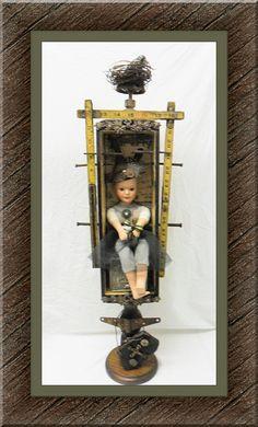 assemblage,  art doll, ooak doll, ooak art doll.  jazzie menagerie, sewing box,