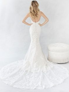 Ella Rosa Style BE372 | lovely sweetheart neckline with long lace train | romantic wedding dress | bridal gown