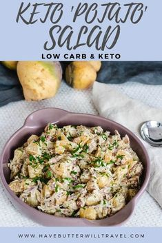 If you have been missing potato salad on your low carb lifestyle, this keto potato salad will definitely be the best replacement that you have tried. #ketopotatosalad #ketoside Low Carb Side Dishes, Side Dish Recipes, Low Carb Recipes, Vegan Recipes, Savoury Recipes, Low Carb Potatoes, Roasted Capsicum, Zucchini Salad, Creamy Cauliflower