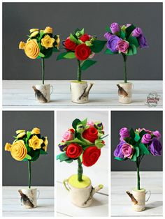Felt Roses Bouquet, Roses in Wood Watering Can, Felt Rose Arrangement, Alternative Wedding, Felt Roses Centerpiece, Mothers Day, Valentines -
