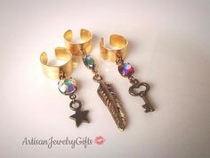 Boho ear cuffs with rare aurora borealis antique German 1940's glass gemstones