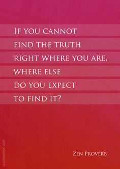 If you cannot find the truth right where you are, where else do you expect to find it?  – #finding #truth http://www.quotemirror.com/proverbs/right-where-you-are/