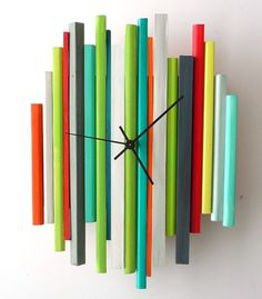 Items similar to Sticks Sculpture Clock - One of a Kind Original Modern Art Wall Clock Sculpture on Etsy Unusual Clocks, Cool Clocks, Tick Tock Clock, Wall Watch, Diy Clock, Wooden Clock, Modern Wall Art, Fused Glass, Creations