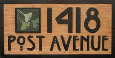 "WELCOME TO ARTS AND CRAFTS HOUSE BOARDS, WHERE I DESIGN, HAND-CARVE AND PAINT WOOD HOUSE NUMBER BOARDS, IN THE STYLE AND SPIRIT OF THE ARTS AND CRAFTS MOVEMENT. SPANISH CEDAR BOARD WITH PAINTED BASSWOOD BLOCK-PRINT STYLE GINKGO TILE - 9 1/4""H X 18""W  NUMBERS 4""H $235"