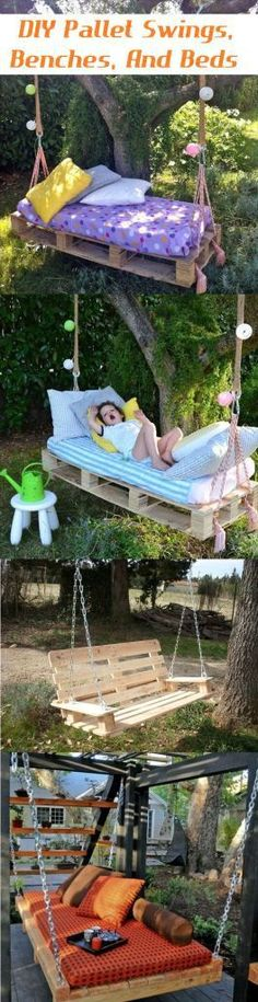 http://www.perkymommy.com/diy-pallet-swings-benches-and-beds/