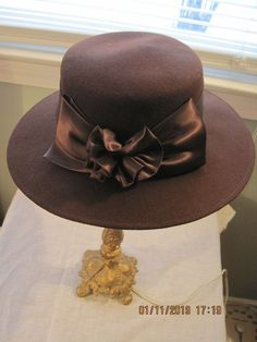 AMANDA SMITH Brown Derby Hat 100% Wool Made in Italy Excellent  fashion   clothing 63efa6f0bed8