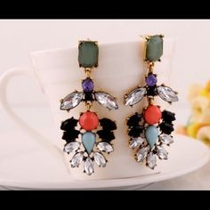 """*NWT* MINT CRYSTAL ENCRUSTED STATEMENT EARRINGS Super amazing statement earring, featuring mint and coral stones, with clear floral design crystal.  -3"""" in Length -Studs Back Earring -Material: Zinc Alloy Jewelry Earrings"""
