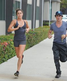 Ian Somerhalder shows off his muscles while taking a jog with Nikki Reed on Saturday (July in Los Angeles. Nikki Reed, Ian And Nikki, The Vampire Diaries, Damon Salvatore, Nina Dobrev, Ian Somerhalder Photoshoot, Louisiana, Ian Somerhalder Vampire Diaries, Chanel West Coast