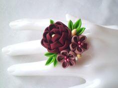 Colorful Floral Ring Maroon Mauve/ Kanzashi by JagataraArt on Etsy