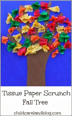 Fall Scrunched  Tissue Paper Tree - Pinned by @PediaStaff – Please Visit  ht.ly/63sNt for all our pediatric therapy pins
