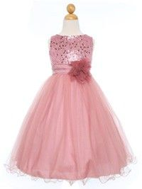 Dusty Rose Sequined Bodice with Double Tulle Skirt Flower Girl Dress (Sizes Infant-14 in 10 Colors)