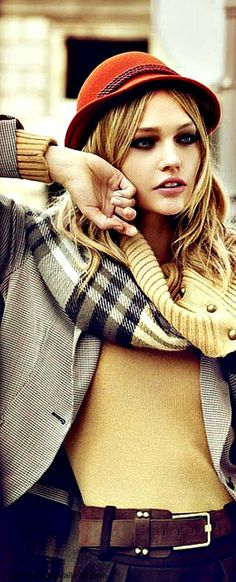 ~Sasha Pivovarova in a tartan scarf | The House of Beccaria#